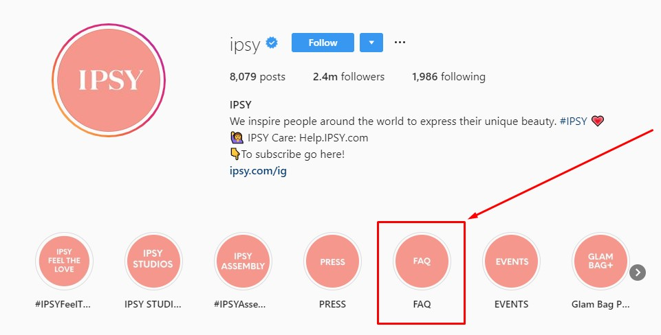 Ipsy on Instagram–Handle a Q&A session to help get leads and sales from Instagram