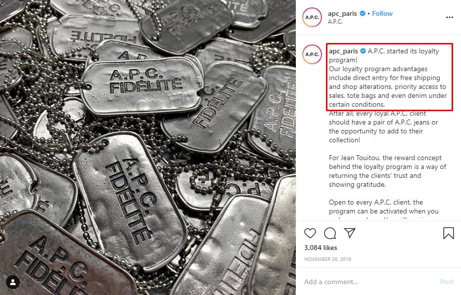 A.P.C Paris on Instagram–Promote loyalty programs