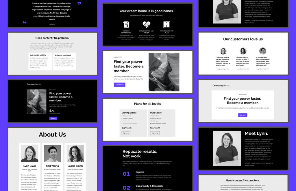 Each section is designed to be fully mobile responsive (right out of the box) and can simply be dragged and dropped onto any landing page or web page within the Leadpages builder.