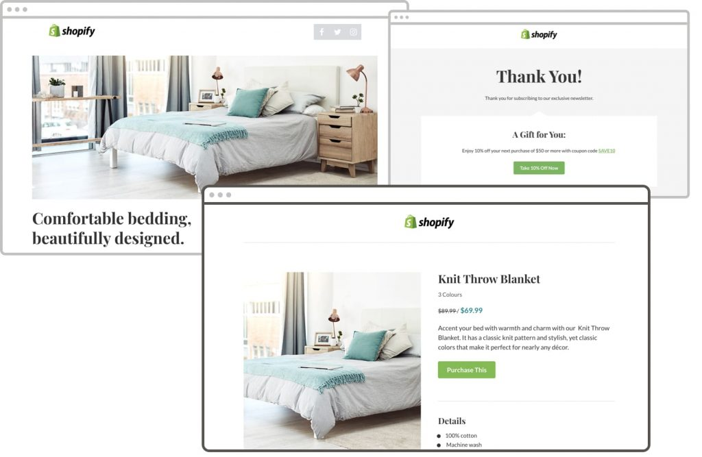 Leadpages templates optimized for Shopify users