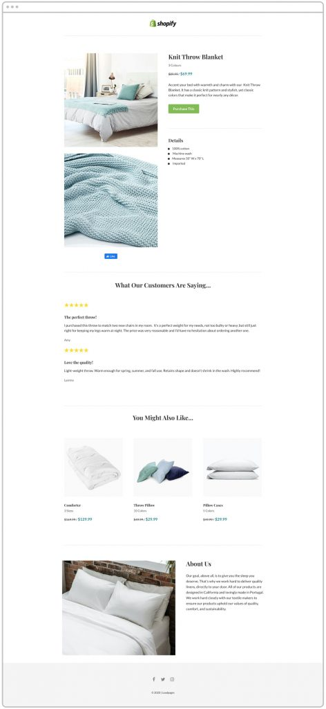 Leadpages Landing Page Template for Selling One Shopify Item