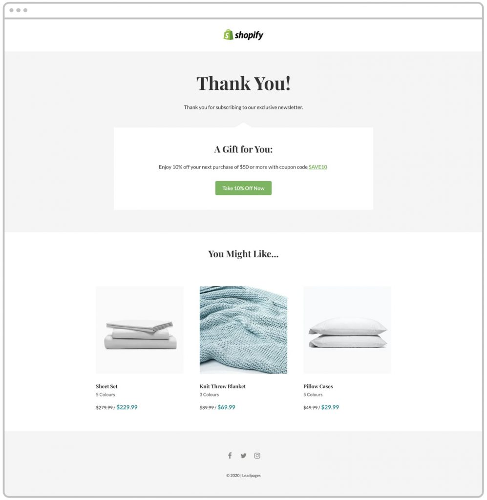 Leadpages Landing page template for thanking Shopify Customers and offering a gift