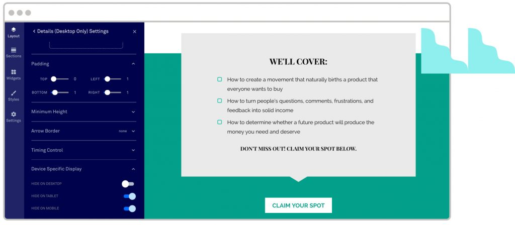 Device specific display by Leadpages