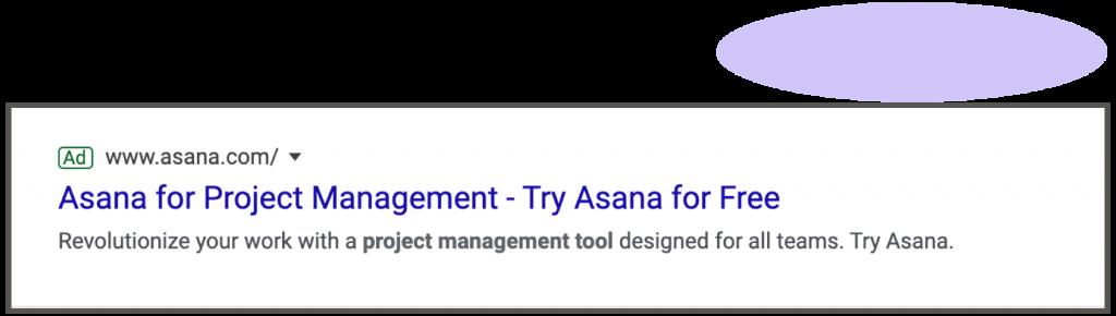 One ad, one landing page-Asana