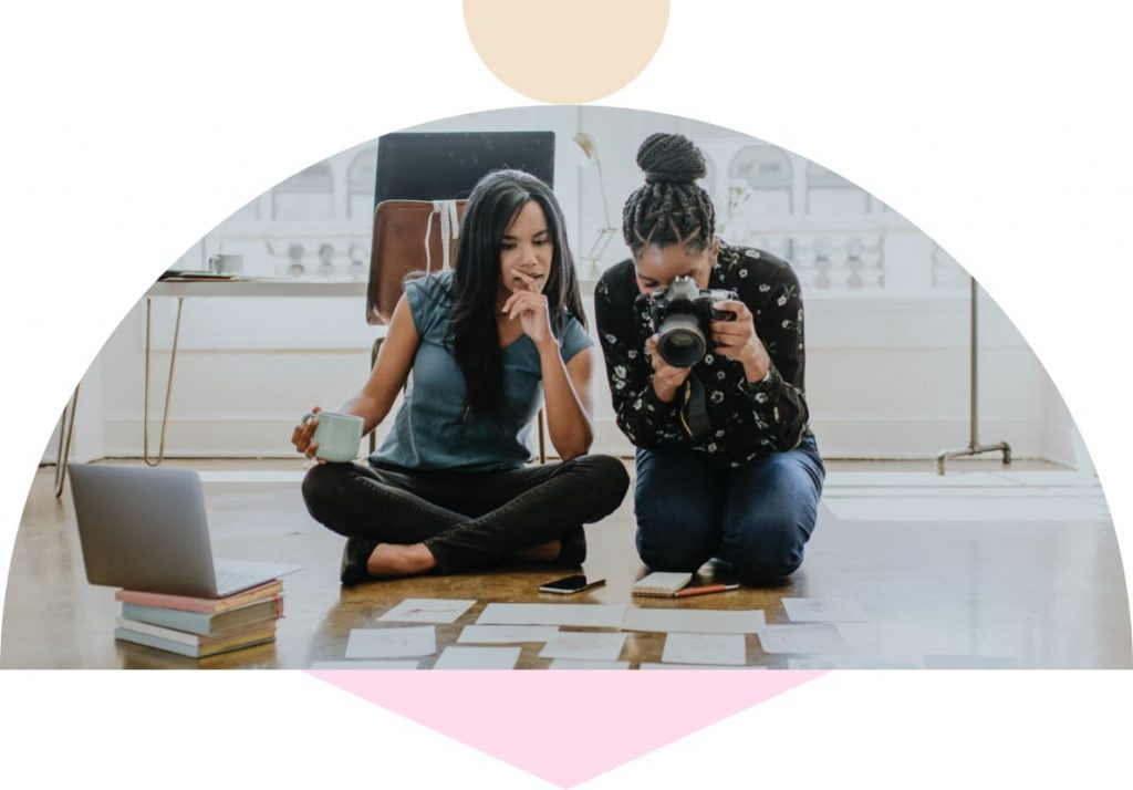 women working together doing business photography