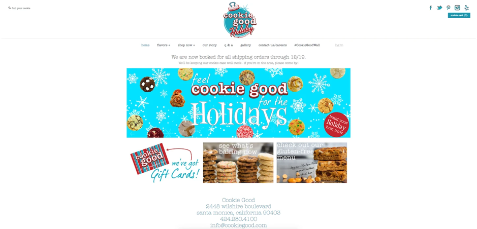 Seasonal social media profile banner from Cookie Good