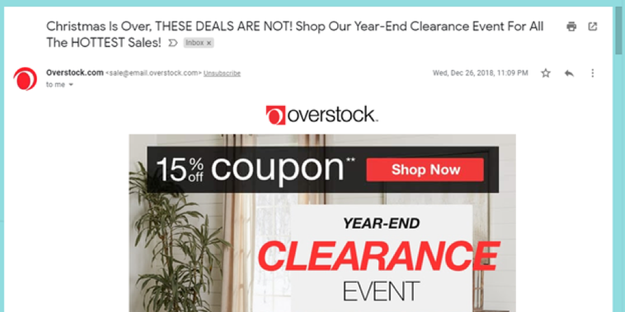 Holiday email marketing example from Overstock