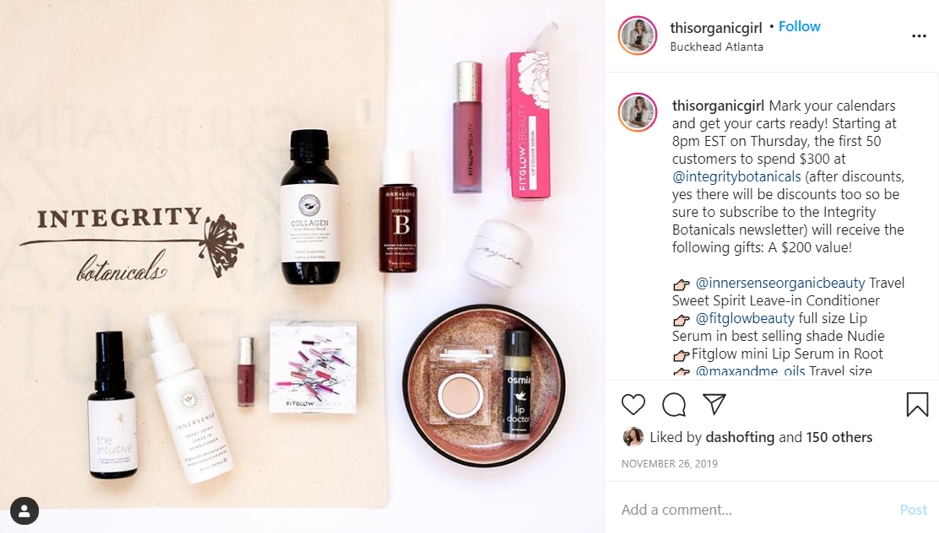 Incentives on Instagram for buying by @thisorganicgirl