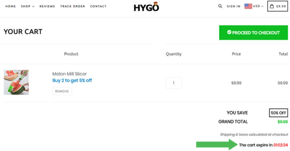Countdown timer urgency at checkout by Hygo