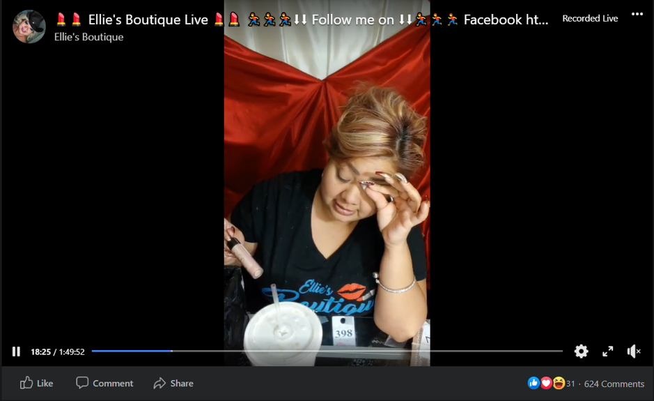 Facebook live selling strategy from Ellie's Boutique