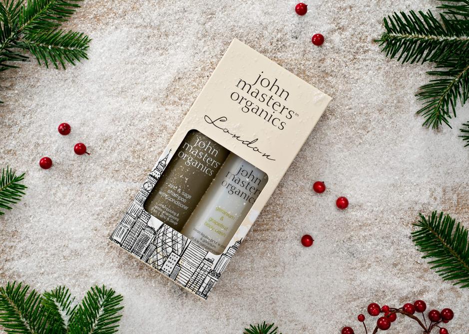 Custom seasonal gift box design example from John Masters Organics