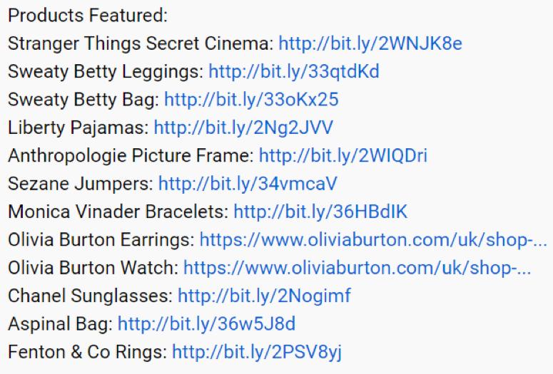 YouTube Description Links for Gift Guides