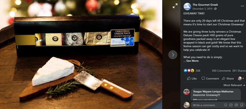 Social media giveaway example The Gourmet Greek
