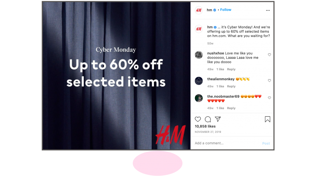 H&M Cyber Monday 2019 Instagram ad