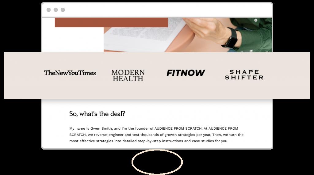 upside-down landing page homepage design social proof logos