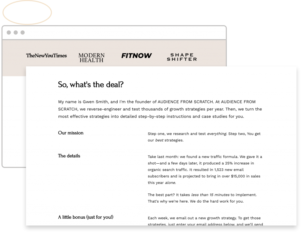 upside-down landing page homepage design pilot story
