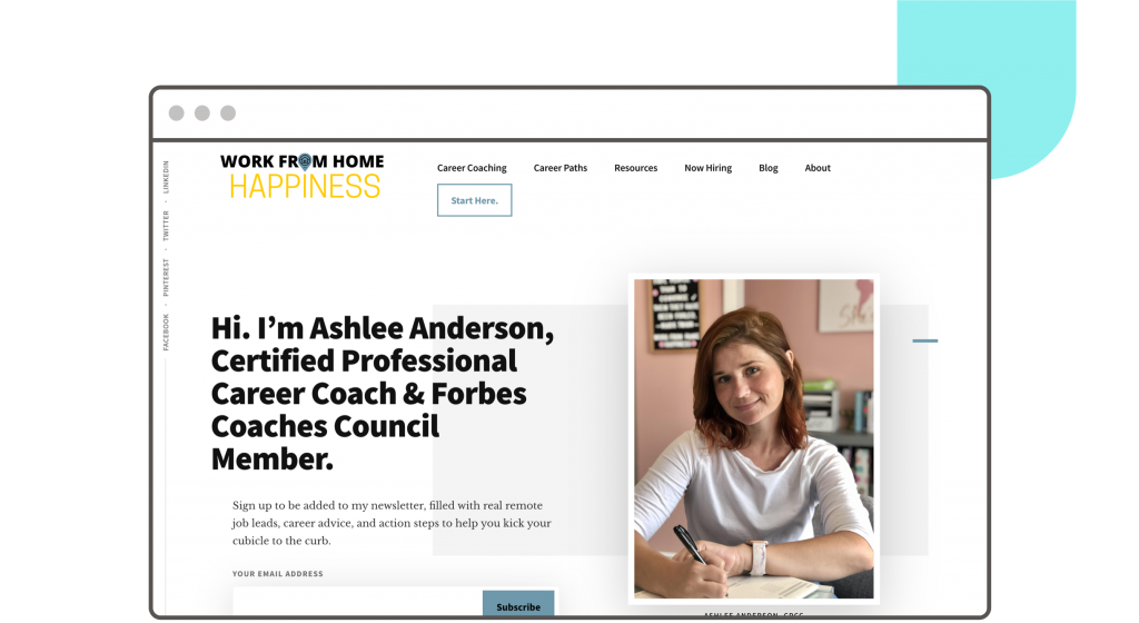 Work From Home Happiness website hero section