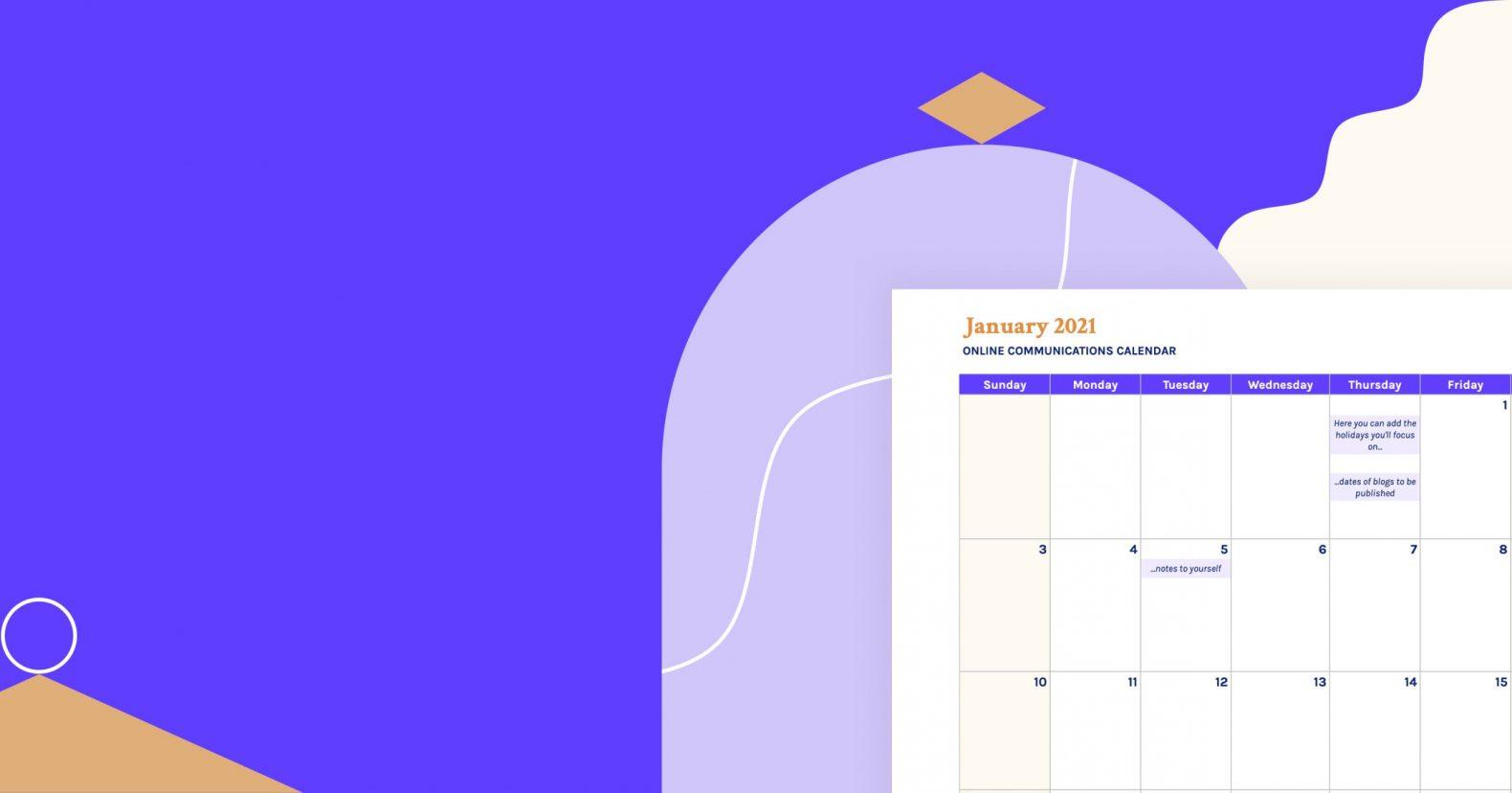 2021 marketing content calendar