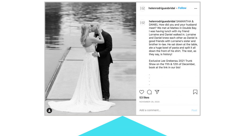 digital marketing trends 2021 helen rodrigues bridal ig graphic showing bride and groom kissing