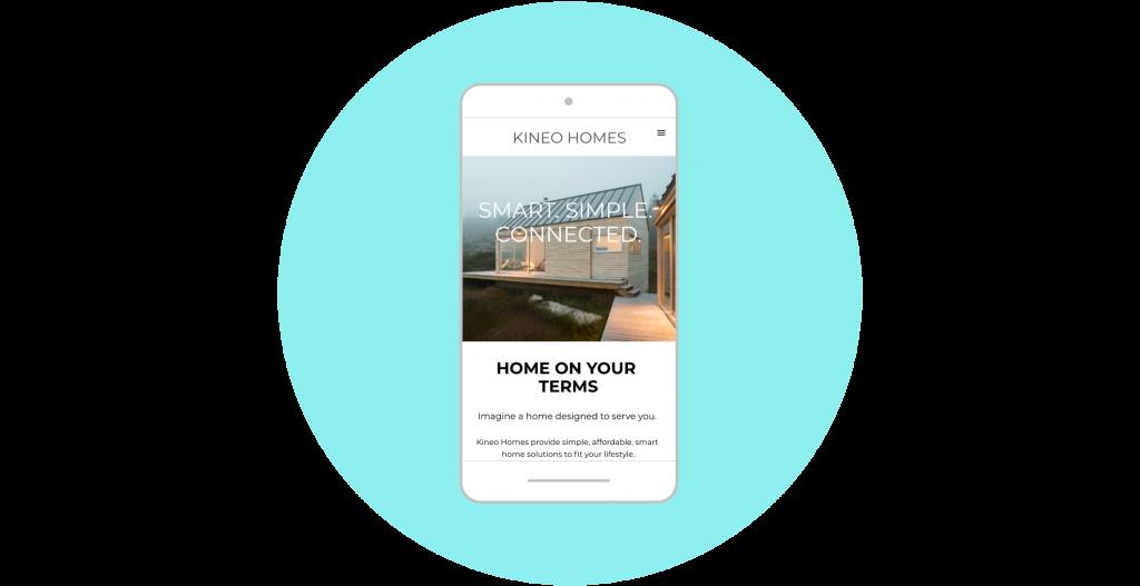 mobile landing page Kineo Homes mobile mockup example