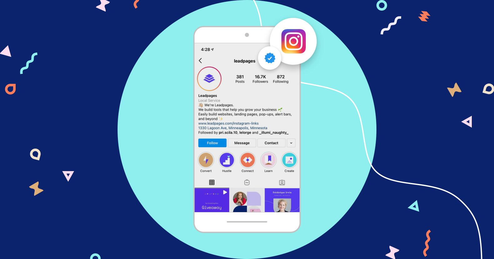 Grow your Instagram following Mobile mockup of an iPhone showing Leadpages' Instagram profile