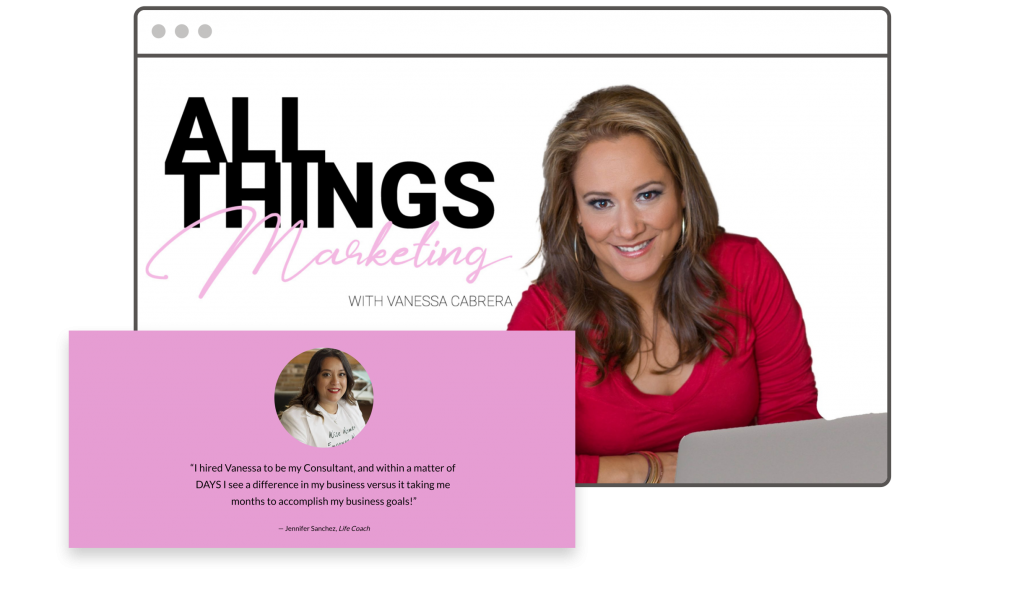 Vanessa Cabrera All Things Marketing landing page
