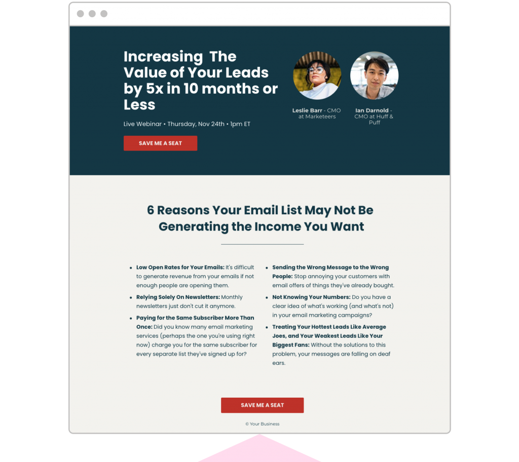 Webinar landing pages Leadpages template