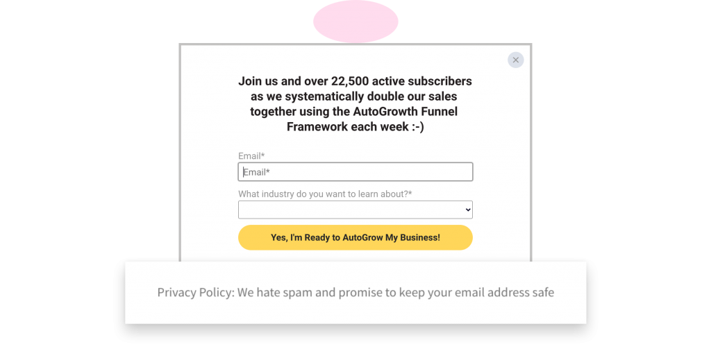How to create lead magnet AutoGrow pop-up with privacy policy highlighted