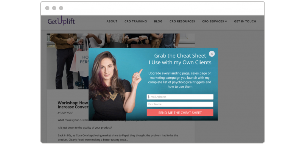 How to create lead magnet Talia Wolf GetUplift website with pop-up