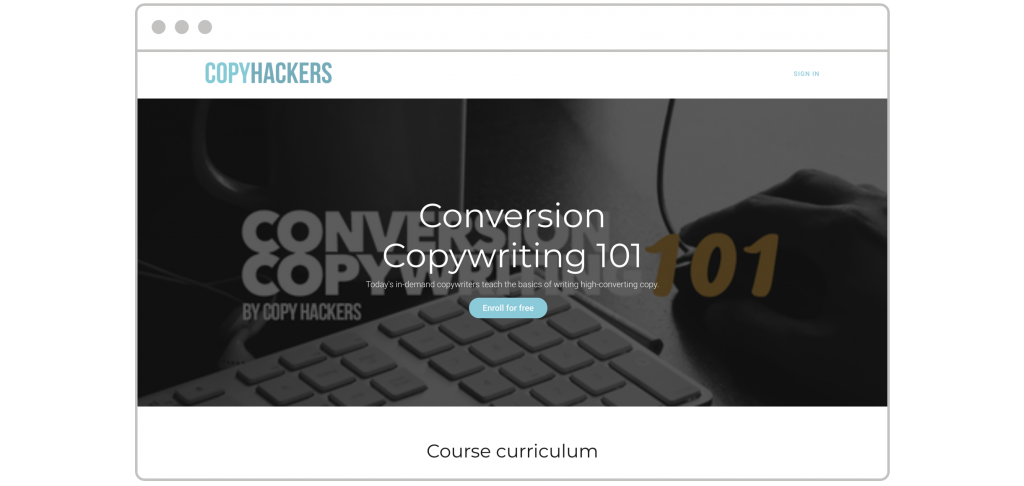 How to create lead magnet Copy Hackers landing page