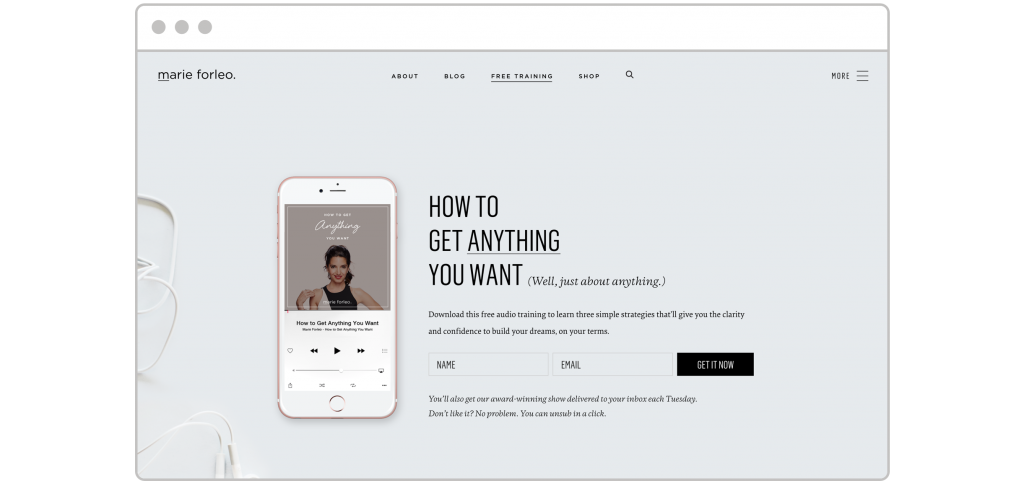 How to create lead magnet Marie Forleo audio lead magnet landing page