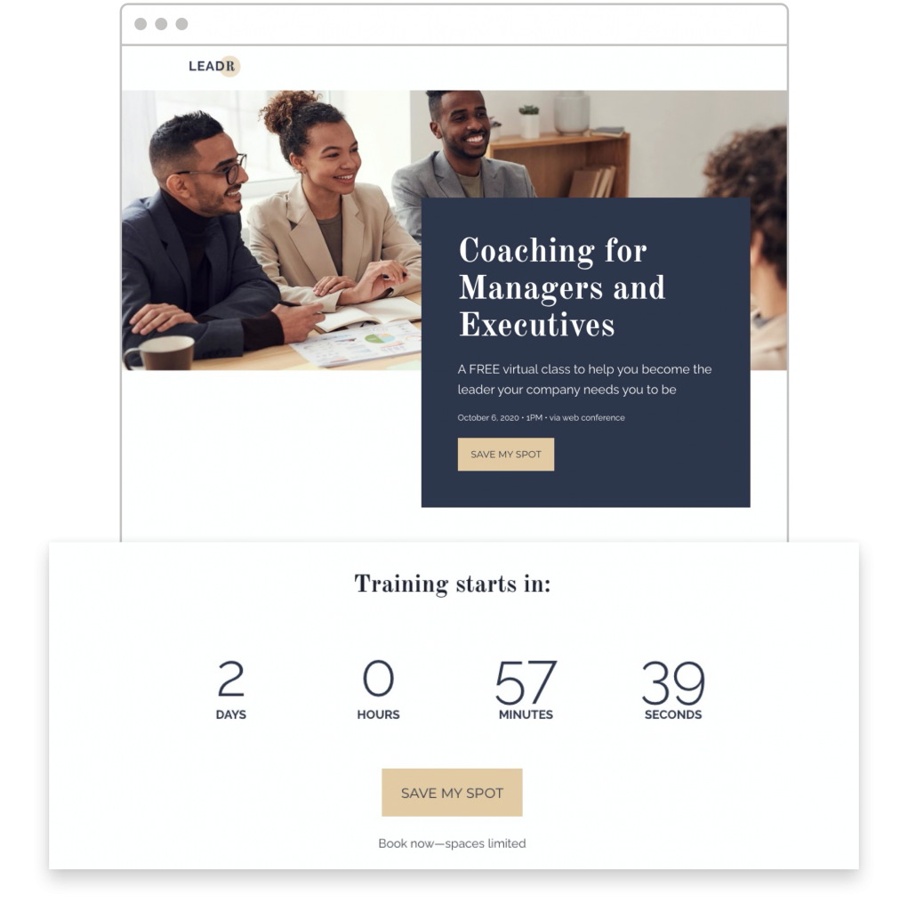countdown timers Leadpages Online Coaching Class template