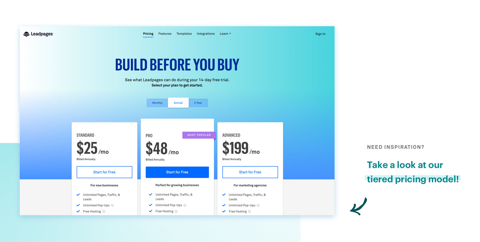 Leadpages tiered pricing model
