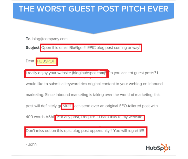 Example of bad guest blogging pitch