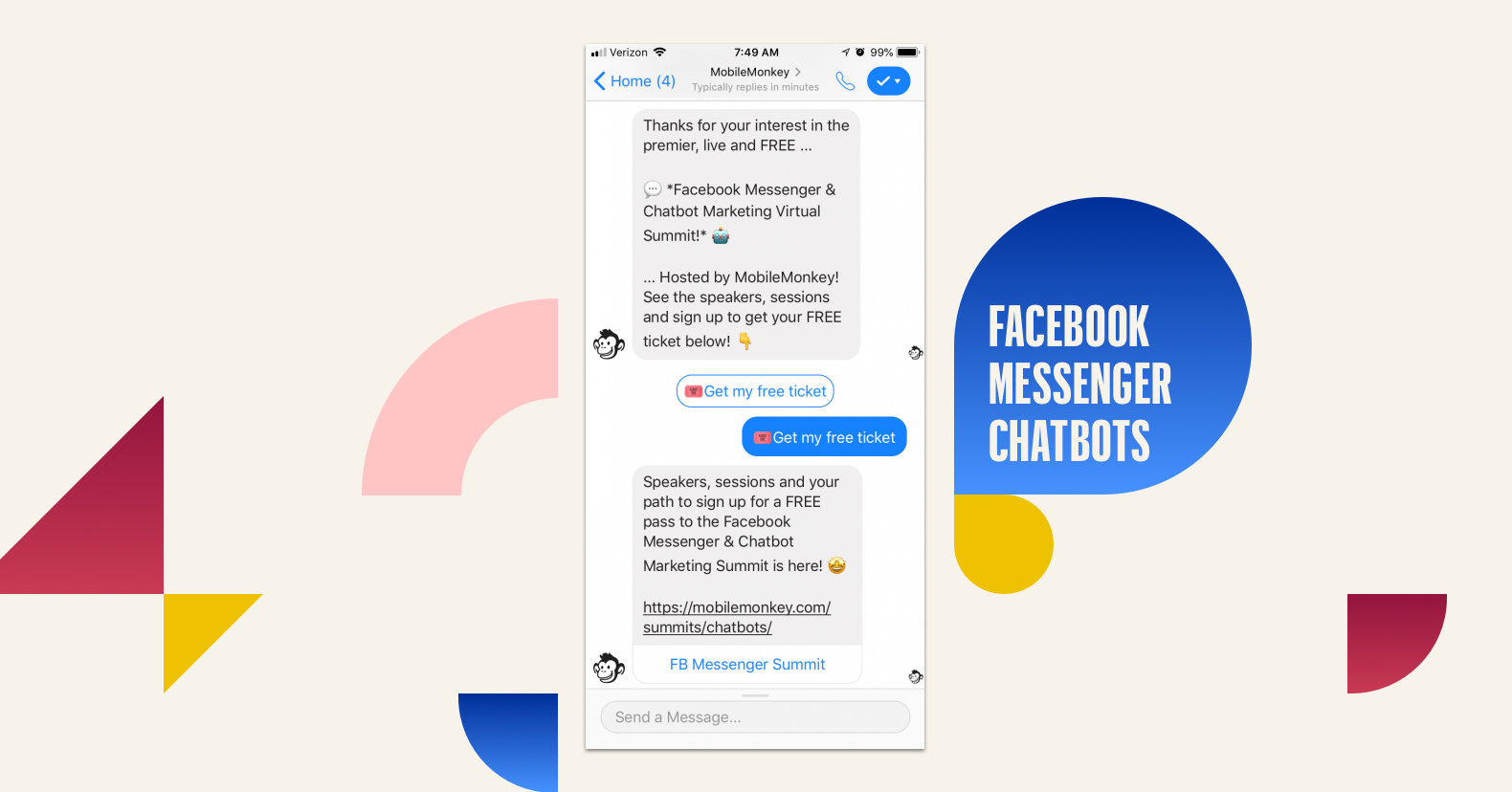 Mobile Monkey allows you to build marketing messenger chatbots without coding