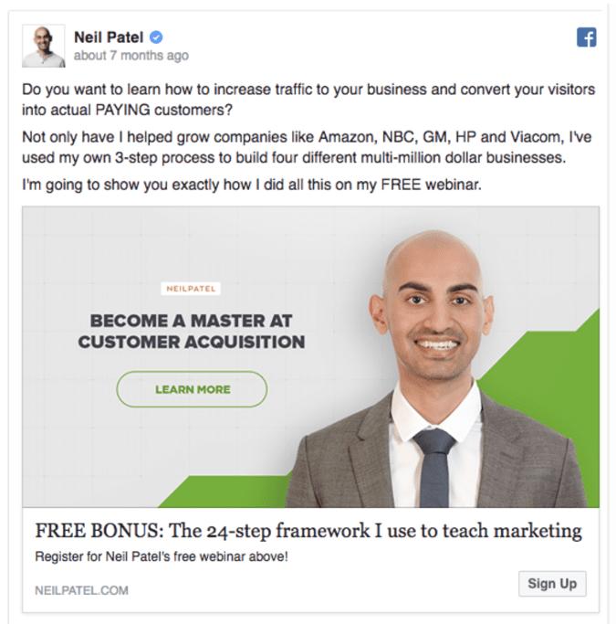 Facebook ads neil patel example