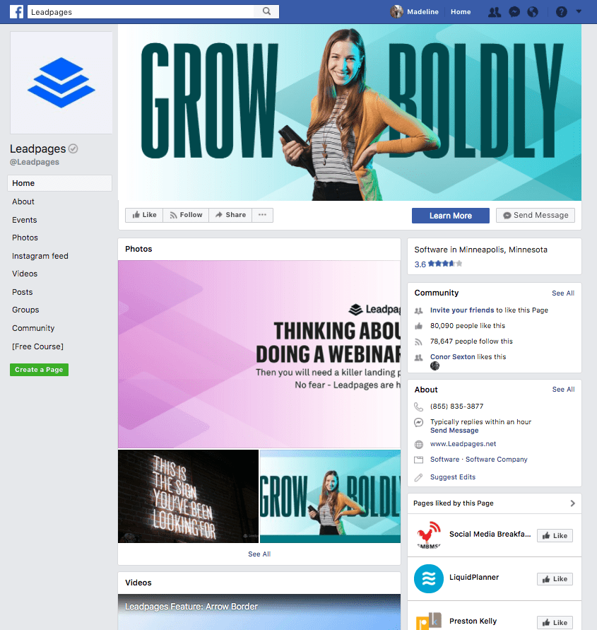 facebook business page landing page