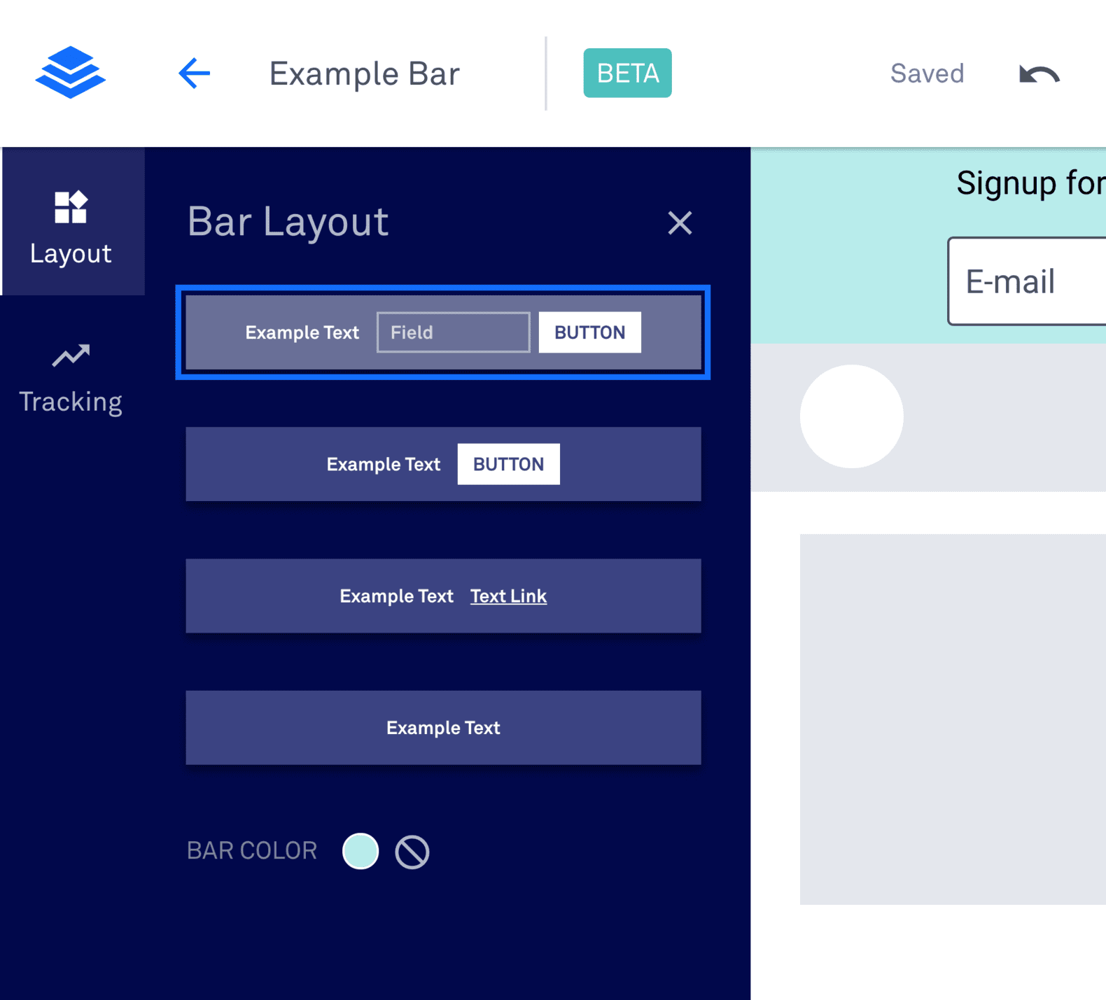 Leadpages Example Bar Layout