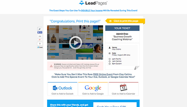 A Webinar Registration Thank You Page Template Preview