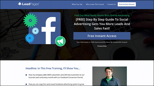 Facebook Ads Made Easy Course Page Template Preview