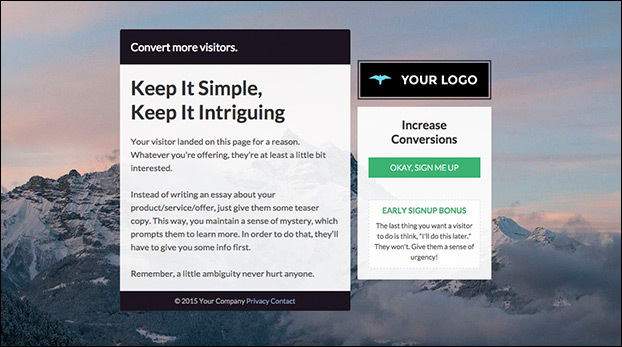 "The ""Keep It Simple"" Email Capture Page Preview"