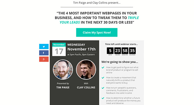 The Webinar Registration Landing Page Template Preview