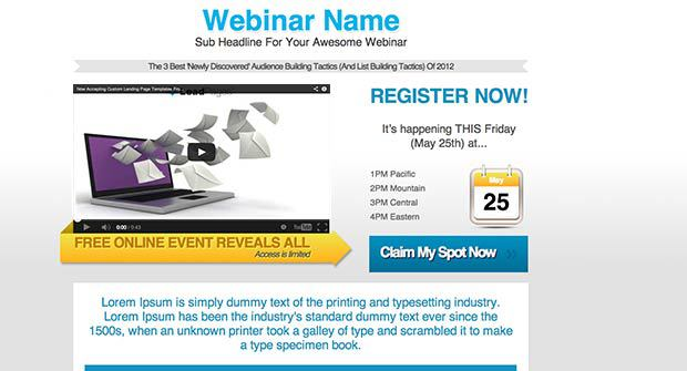 Two-Step Webinar Landing Page Template Preview