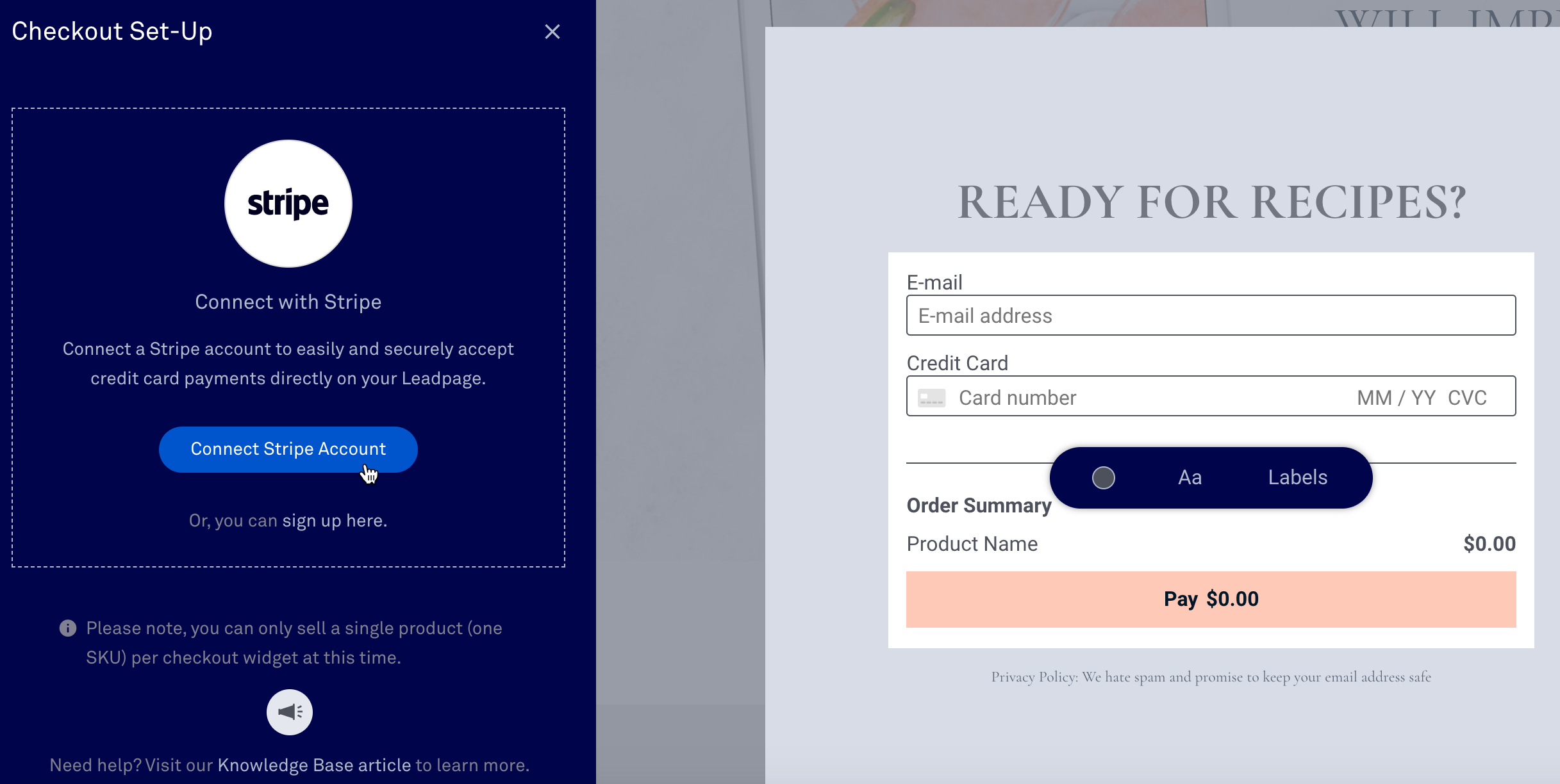 leadpages checkout widget