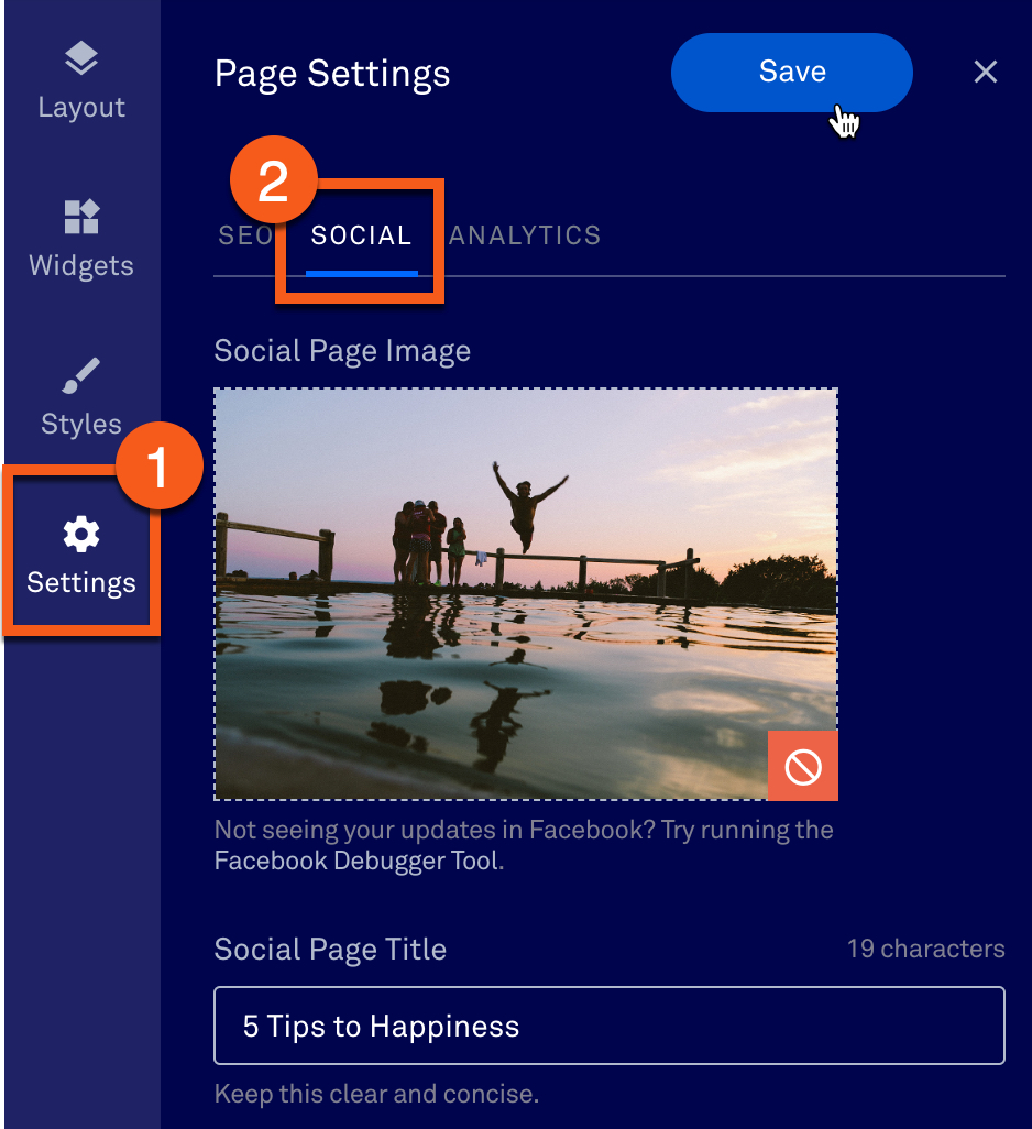 Edit the preview of your landing page or site on social