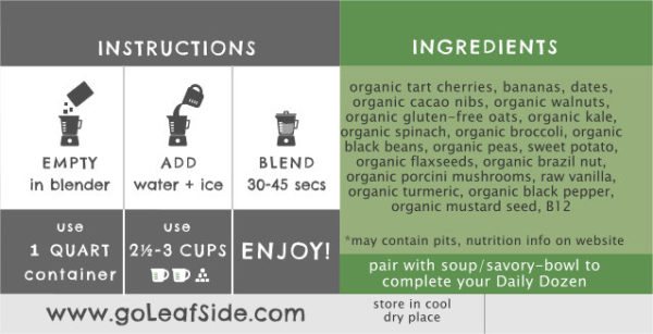 Cacao Cherry Smoothie Instructions LeafSide