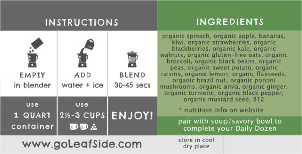 Green Grail Smoothie Instructions LeafSide