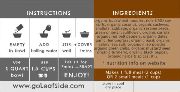 Thai Veggie Noodle Savory Bowl LeafSide