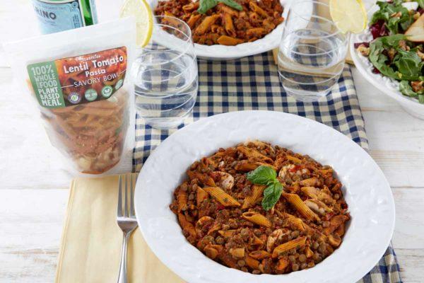 LeafSide Lentil Tomato Pasta Savory Bowl