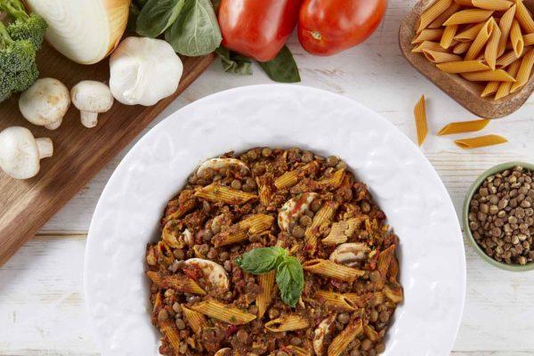 LeafSide Lentil Tomato Pasta - close up